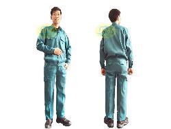 Quần áo bảo hộ túi hộp vải Nam Định mầu cam, xanh lilama Qa006