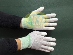 Găng tay tĩnh điện phủ ngón cao su Mầu sắc: ghi xám pha trắng. GV007
